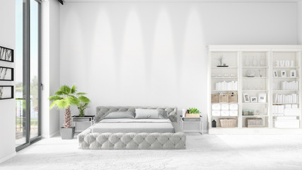 Scene with brand new interior in vogue with white rack and modern bed. 3D rendering. Horizontal arrangement.