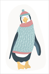Funny happy penguin cartoon character wearing knitted sweater and hat. Clumsy antarctica bird animal. Isolated on white background. Christmas New Year theme. Flat design vector illustration.