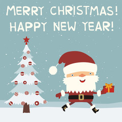 Merry Christmas and Happy New Year! Funny Santa Claus running with gift near Christmas tree. Greeting card with Santa Claus in cartoon style.