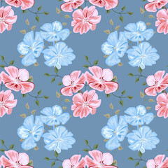 Vintage seamless pattern with cute pink and blue flowers. Hand-drawn floral background for textile, cover, wallpaper, gift packaging, printing.Romantic design for calico.
