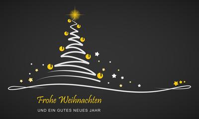 """Weihnachten - """"Abstrakter Weihnachtsbaum""""  (Schwarz/ Gelb)"""