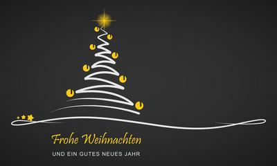 """Weihnachten - Grußkarte """"Abstrakter Weihnachtsbaum"""" (Schwarz/ Gelb)"""