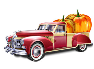 Pickup truck loaded with pumpkin
