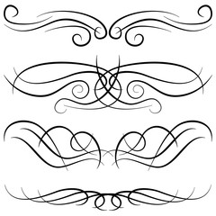 Set of vintage decorative curls, swirls, monograms and calligraphic borders. Line drawing design elements in black color on white background. Vector illustration.