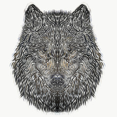 The head of a wolf, a dog, drawn with curved lines