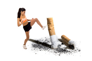 furious latin sport woman in fight combat kick attacking angry against cigarette butt in stop and anti smoking concept