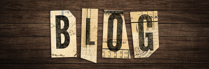 Blog - letters on wooden retro board