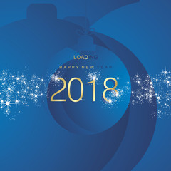 Happy New Year 2018 loading firework gold blue abstract ball background