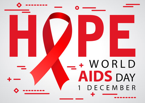 hope world aids day 1 december awareness tape icon