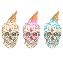 Ice cream flows over the skull. Three colors.