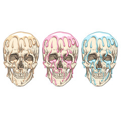 Something is flowing on the skull. Three colors.