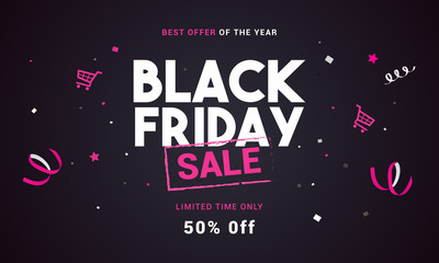 Black Friday sale vector illustration, Black and pink theme