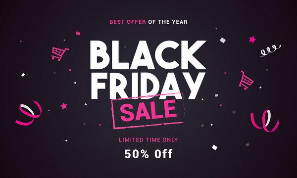 Black Friday sale vector illustration, Black and pink theme
