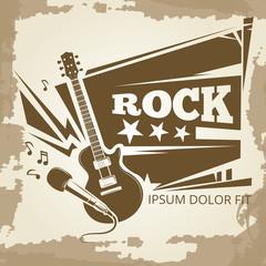 Rock music vintage emblem design