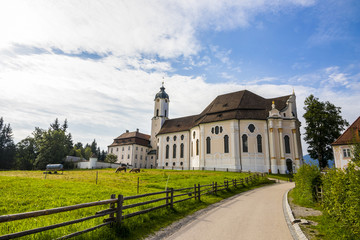 The Pilgrimage Church of Wies (Wieskirche), an oval rococo church located in the foothills of the Alps, Bavaria, Germany. A World Heritage Site since 1983