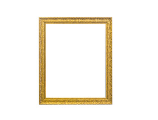 Golden vintage photo frame isolated on white