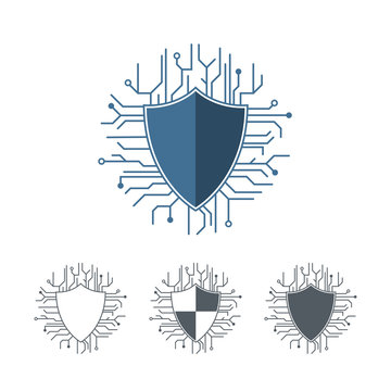 Internet protection logo template. Microchip lines vector illustration. Outline shield set monochrome. Logotype cyber and network guarding concept. Anti hacking attack symbol