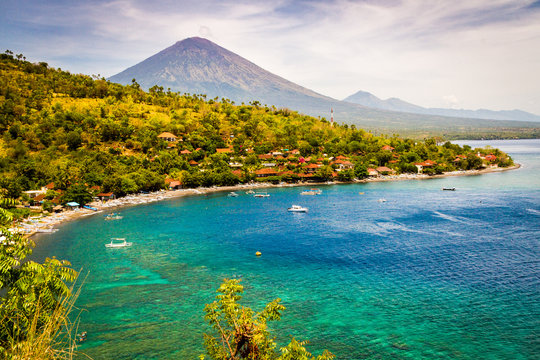 Agung Volcano seen from Amed, in East Bali.