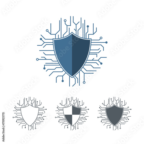 Internet protection logo template. Microchip lines vector ...