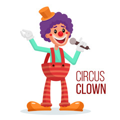 Circus Clown Vector. Performance For Hilarious Laughing People. Isolated On White Cartoon Character Illustration