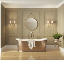 Classic elegant luxury bathroom with bronze bathtub