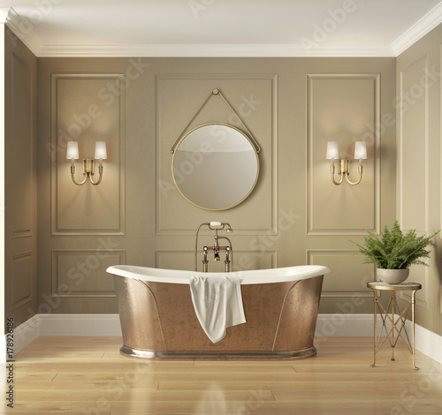 "Classic Elegant Bathroom Flowers Roses Pearls: ""Classic Elegant Luxury Bathroom With Bronze Bathtub"