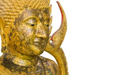 Thai Buddha face isolated on white background