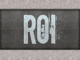 ROI painted on metal panel wall.