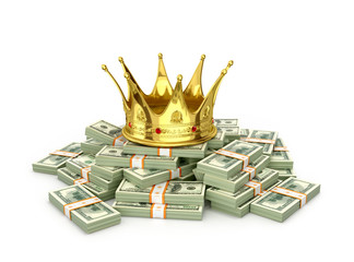 A stack of hundreds of dollars with a golden crown on a white background. 3D illustration