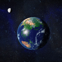 Earth and Moon from space showing Asia and Australasia. 3d Rendered