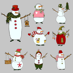 Snowmen set on white background, isolated snowman for christmas design