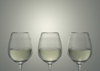 3d rendering. Luxury white wine glasses row with gradient gray copy space background