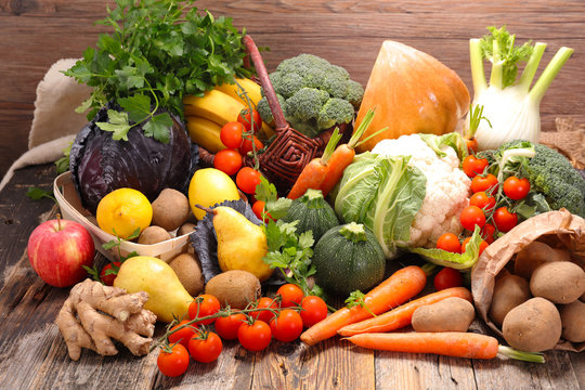 assorted raw fruit and vegetable