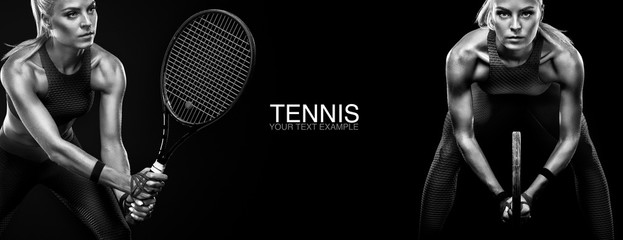 Sport concept. Sports woman tennis player with a racket. Copy space. Black and white photo. Tennis poster.