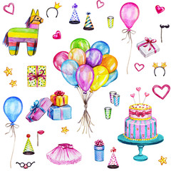 Watercolor Happy Birthday seamless pattern. Hand drawn celebration objects: gift boxes, air balloons, Birthday cake, pinata.