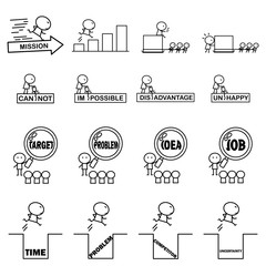 Set of Cartoon simple line charactor in variety action of Business idea concept for vector graphic design3