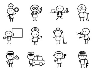 Set of Cartoon simple line character in variety careers with idea concept for vector graphic design
