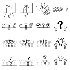Set of Cartoon simple line charactor in variety action of Business idea concept for vector graphic design