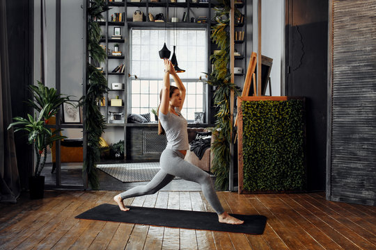 Woman practicing home yoga. A series of yoga poses. lifestyle concept.