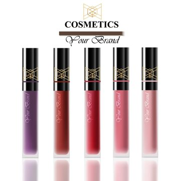 Colorful Realistick lipgloss package in gold. Vector detailed cosmetics products