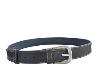 black leather men belt roll on white background