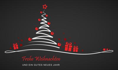 """Grußkarte - """"Weihnachtsbaum mit Geschenken"""" (Rot/ Schwarz)"""