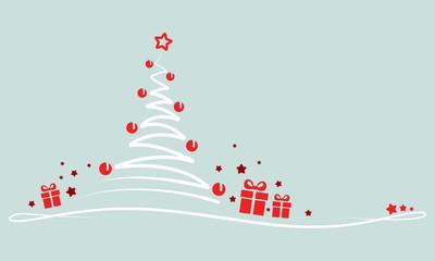 """Grußkarte - """"Weihnachtsbaum mit Geschenken"""" (in Grün)"""