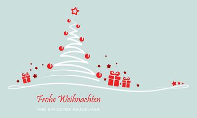 """Grußkarte - """"Weihnachtsbaum mit Geschenken"""" (Grün)"""