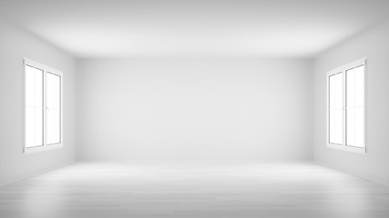 empty white room with two windows