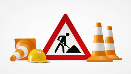 under construction sign with traffic cones 3d rendering