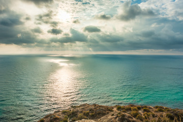 View of Black Sea from the cape Fiolent at sunset, near Sevastopol, Crimea peninsula. Picturesque sea landscape in HDR