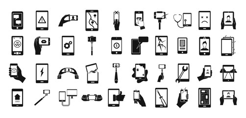 Smartphone icon set, simple style