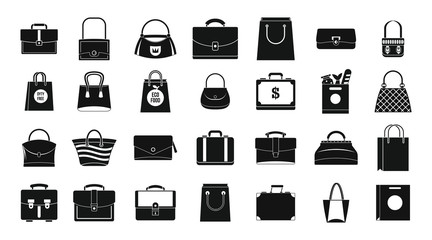 Handbag icon set, simple style