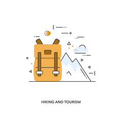 Elements for illustration of trekking and tourism.